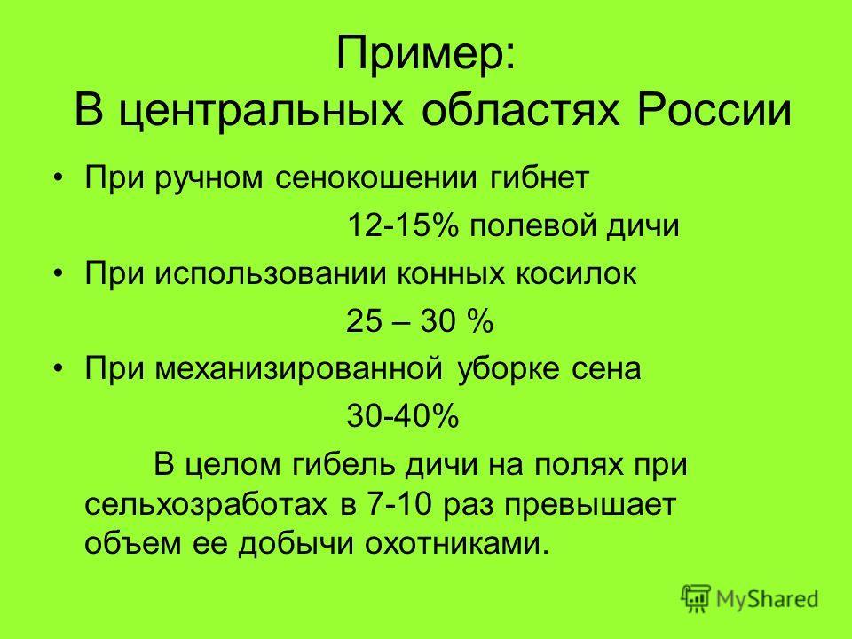 Пример: В центральных областях России При ручном сенокошении гибнет 12-15% полевой дичи При использовании конных косилок 25 – 30 % При механизированной уборке сена 30-40% В целом гибель дичи на полях при сельхозработах в 7-10 раз превышает объем ее д