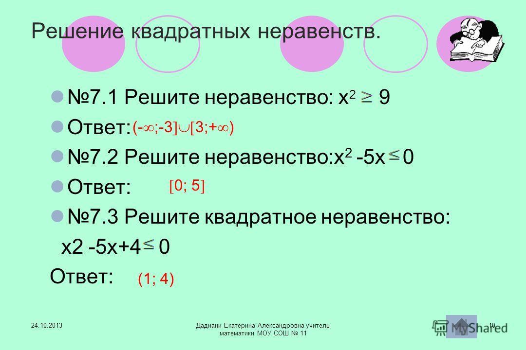 24.10.2013Дадиани Екатерина Александровна учитель математики МОУ СОШ 11 10 Решение квадратных неравенств. 7.1 Решите неравенство: х 2 9 Ответ: 7.2 Решите неравенство:х 2 -5х 0 Ответ: 7.3 Решите квадратное неравенство: х2 -5х+4 0 Ответ: (- ;-3 3;+ ) 0