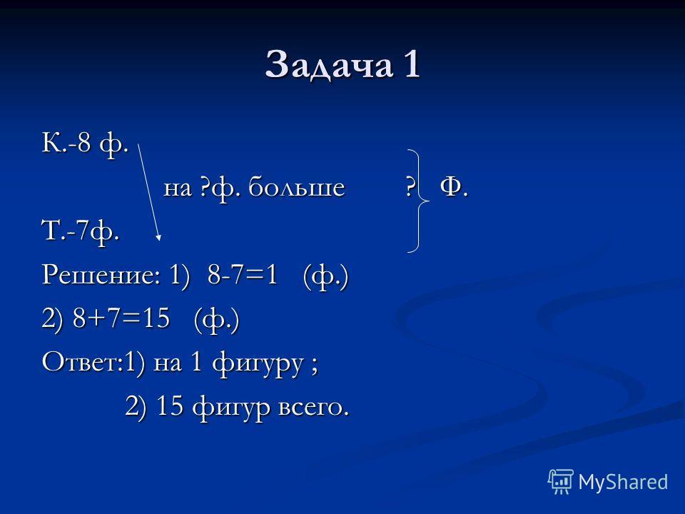 Задача 1 К.-8 ф. на ?ф. больше ? Ф. на ?ф. больше ? Ф.Т.-7ф. Решение: 1) 8-7=1 (ф.) 2) 8+7=15 (ф.) Ответ:1) на 1 фигуру ; 2) 15 фигур всего. 2) 15 фигур всего.
