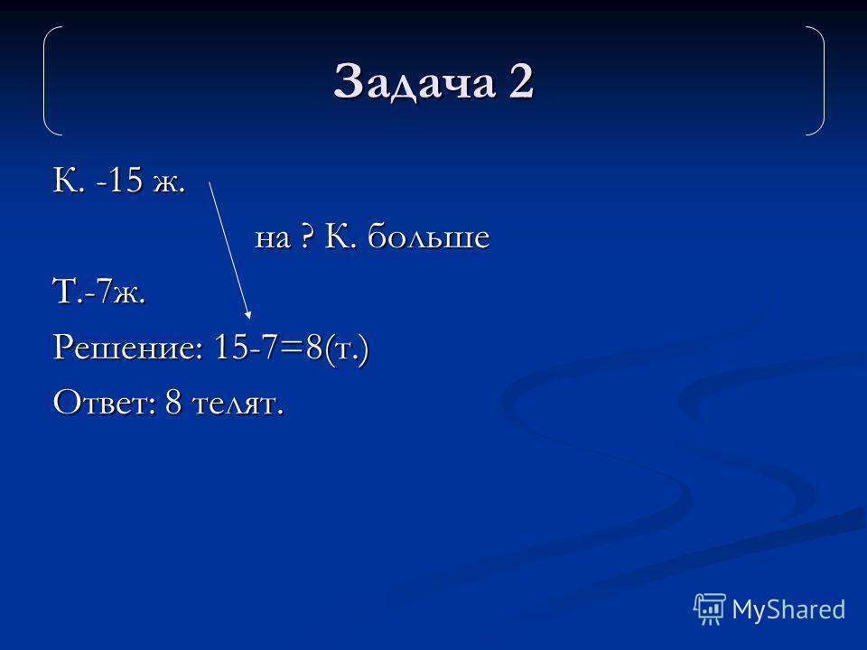 К. -15 ж. на ? К. больше на ? К. большеТ.-7ж. Решение: 15-7=8(т.) Ответ: 8 телят. Задача 2