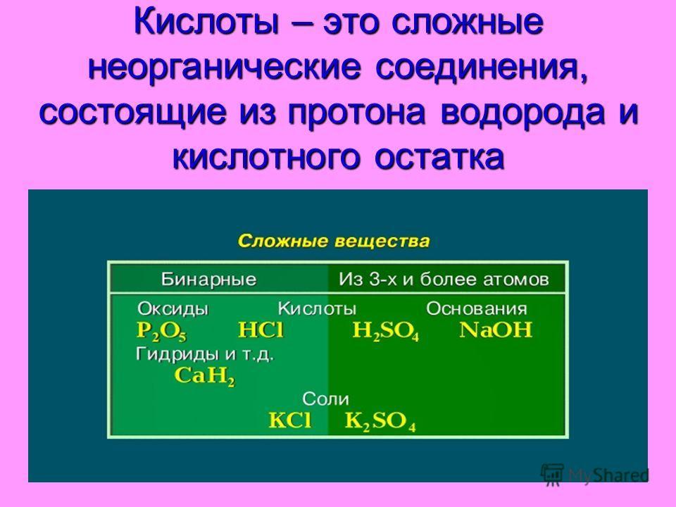 Кислоты – это сложные неорганические соединения, состоящие из протона водорода и кислотного остатка