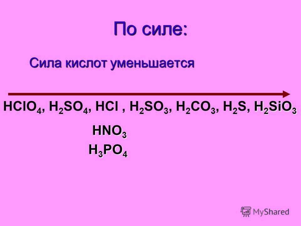 По силе: Сила кислот уменьшается Сила кислот уменьшается H 2 SiO 3 HClO 4, H 2 SO 4, HCl, H 2 SO 3, H 2 СO 3, H 2 S, H 2 SiO 3 HNO 3 H 3 PO 4 H 3 PO 4