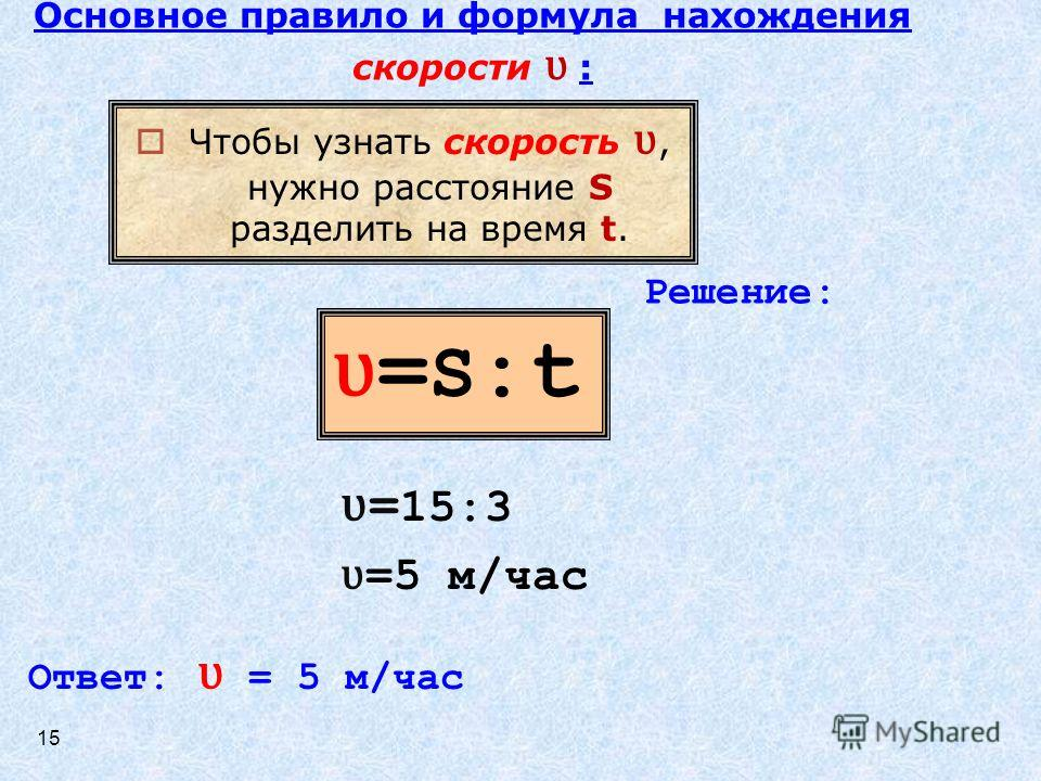ʋ=S:tʋ=S:t Чтобы узнать скорость ʋ, нужно расстояние S разделить на время t. Решение: ʋ = 15:3 ʋ =5 м/час Ответ: ʋ = 5 м/час Основное правило и формула нахождения скорости ʋ : 15