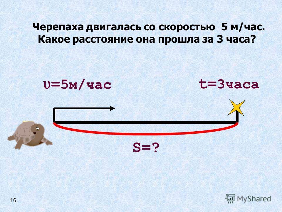 Черепаха двигалась со скоростью 5 м/час. Какое расстояние она прошла за 3 часа? ʋ = 5м/час t= 3часа S=? 16