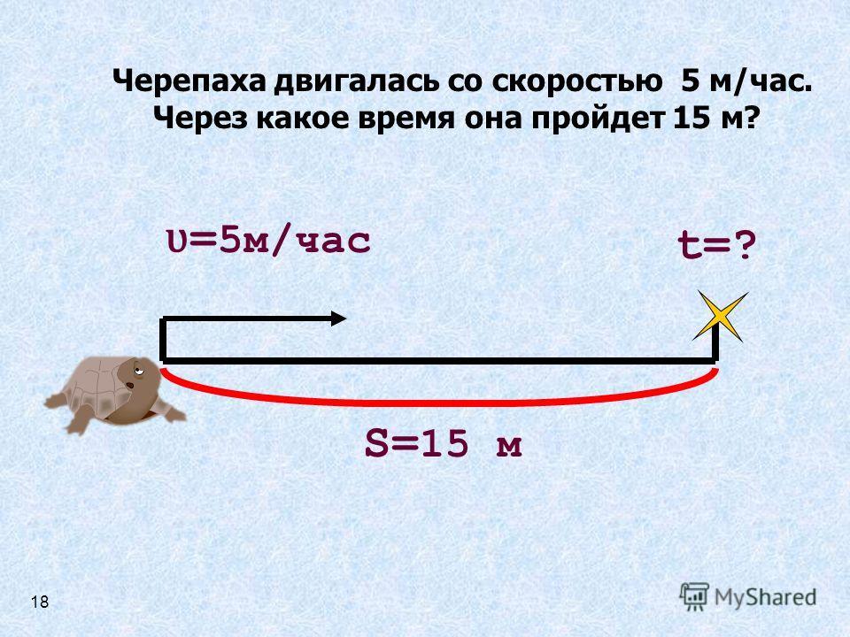 Черепаха двигалась со скоростью 5 м/час. Через какое время она пройдет 15 м? ʋ = 5м/час t=? S= 15 м 18