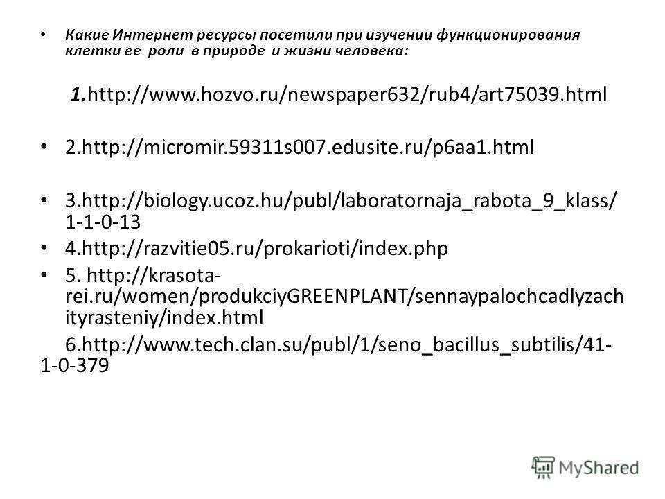 Какие Интернет ресурсы посетили при изучении функционирования клетки ее роли в природе и жизни человека: 1.http://www.hozvo.ru/newspaper632/rub4/art75039.html 2.http://micromir.59311s007.edusite.ru/p6aa1.html 3.http://biology.ucoz.hu/publ/laboratorna