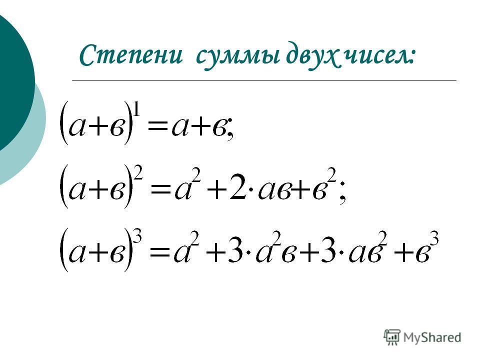 Степени суммы двух чисел: