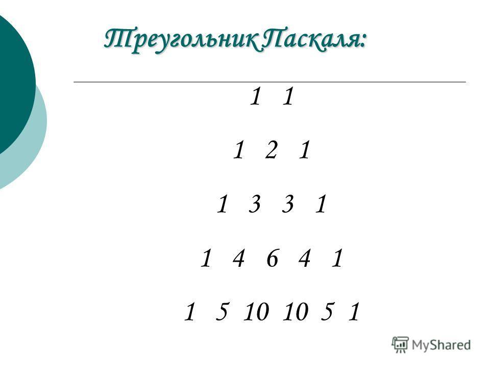 1 1 2 1 1 3 3 1 1 4 6 4 1 1 5 10 10 5 1 Треугольник Паскаля: