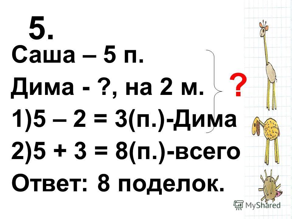 5. Саша – 5 п. Дима - ?, на 2 м. 1)5 – 2 = 3(п.)-Дима 2)5 + 3 = 8(п.)-всего Ответ: 8 поделок. ?