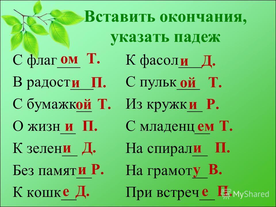 Вставить окончания, указать падеж С флаг___ В радост___ С бумажк__ О жизн__ К зелен__ Без памят__ К кошк__ омТ. иП. ойТ. иП. иД. иР. еД. К фасол___ С пульк___ Из кружк__ С младенц__ На спирал__ На грамот__ При встреч__ иД. ойТ. иР. емТ. иП. уВ. еП.