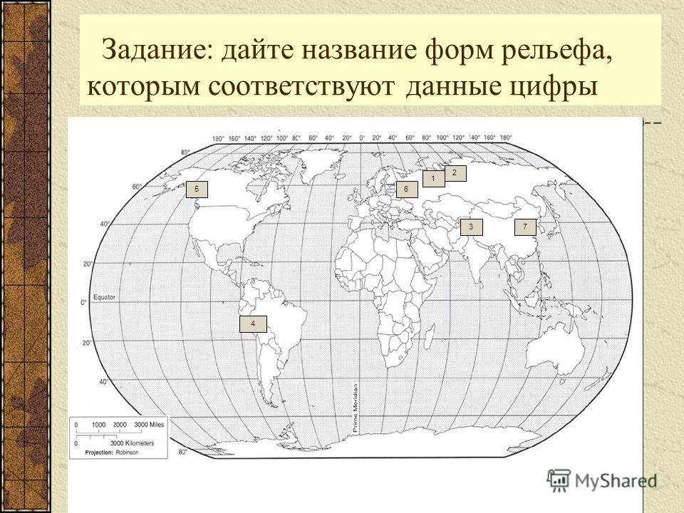 Задание: дайте название форм рельефа, которым соответствуют данные цифры 1 2 4 3 56 7