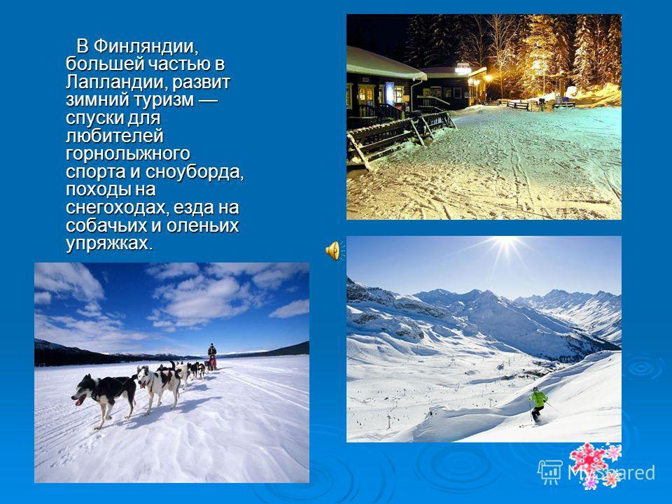 В Финляндии, большей частью в Лапландии, развит зимний туризм спуски для любителей горнолыжного спорта и сноуборда, походы на снегоходах, езда на собачьих и оленьих упряжках. В Финляндии, большей частью в Лапландии, развит зимний туризм спуски для лю
