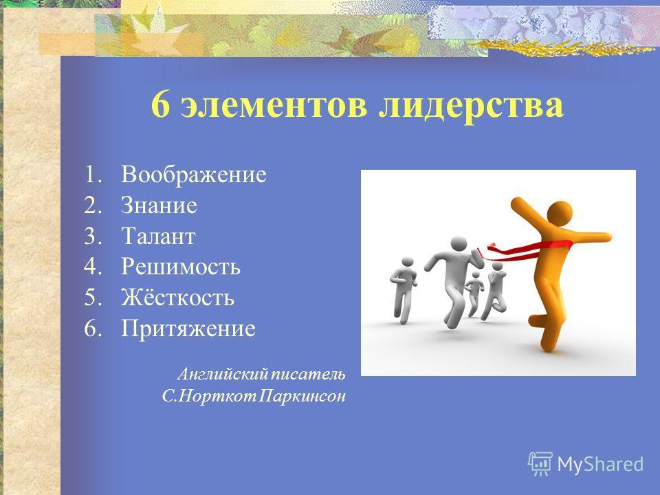 6 элементов лидерства 1.Воображение 2.Знание 3.Талант 4.Решимость 5.Жёсткость 6.Притяжение Английский писатель С.Норткот Паркинсон