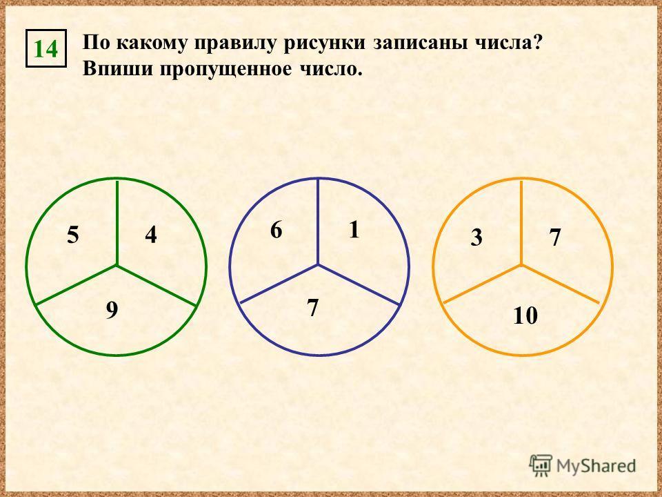14 7 По какому правилу рисунки записаны числа? Впиши пропущенное число. 10 3 61 7 54 9