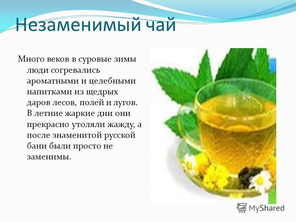 Незаменимый чай Много веков в суровые зимы люди согревались ароматными и целебными напитками из щедрых даров лесов, полей и лугов. В летние жаркие дни они прекрасно утоляли жажду, а после знаменитой русской бани были просто не заменимы.