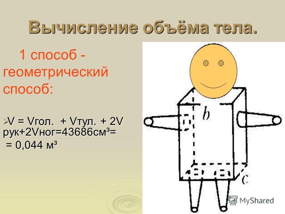Вычисление объёма тела. 1 способ - геометрический способ: V = Vгол. + Vтул. + 2V рук+2Vног=43686см³= V = Vгол. + Vтул. + 2V рук+2Vног=43686см³= = 0,044 м³ = 0,044 м³