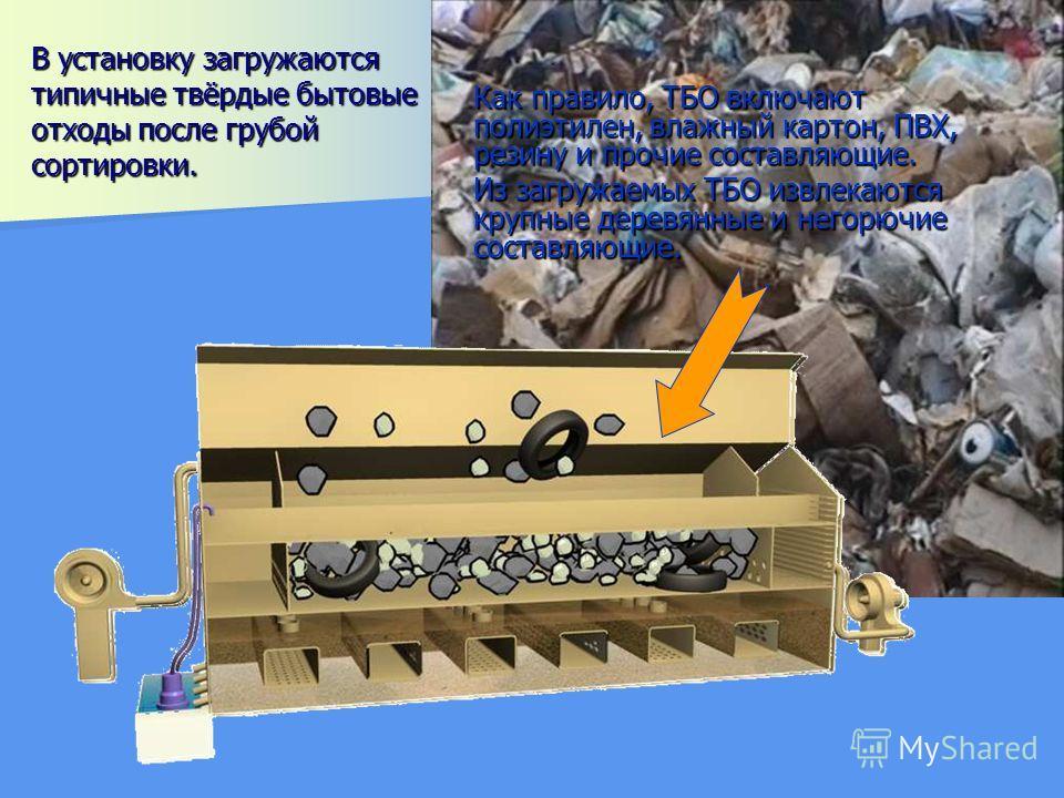 В установку загружаются типичные твёрдые бытовые отходы после грубой сортировки. Как правило, ТБО включают полиэтилен, влажный картон, ПВХ, резину и прочие составляющие. Из загружаемых ТБО извлекаются крупные деревянные и негорючие составляющие.