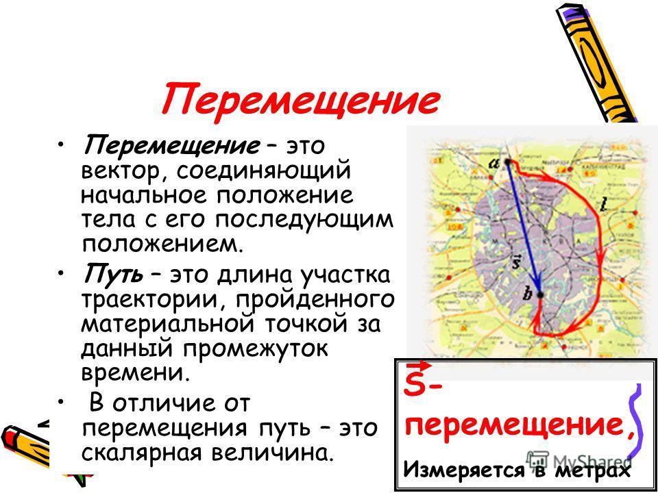Перемещение Перемещение – это вектор, соединяющий начальное положение тела с его последующим положением. Путь – это длина участка траектории, пройденного материальной точкой за данный промежуток времени. В отличие от перемещения путь – это скалярная