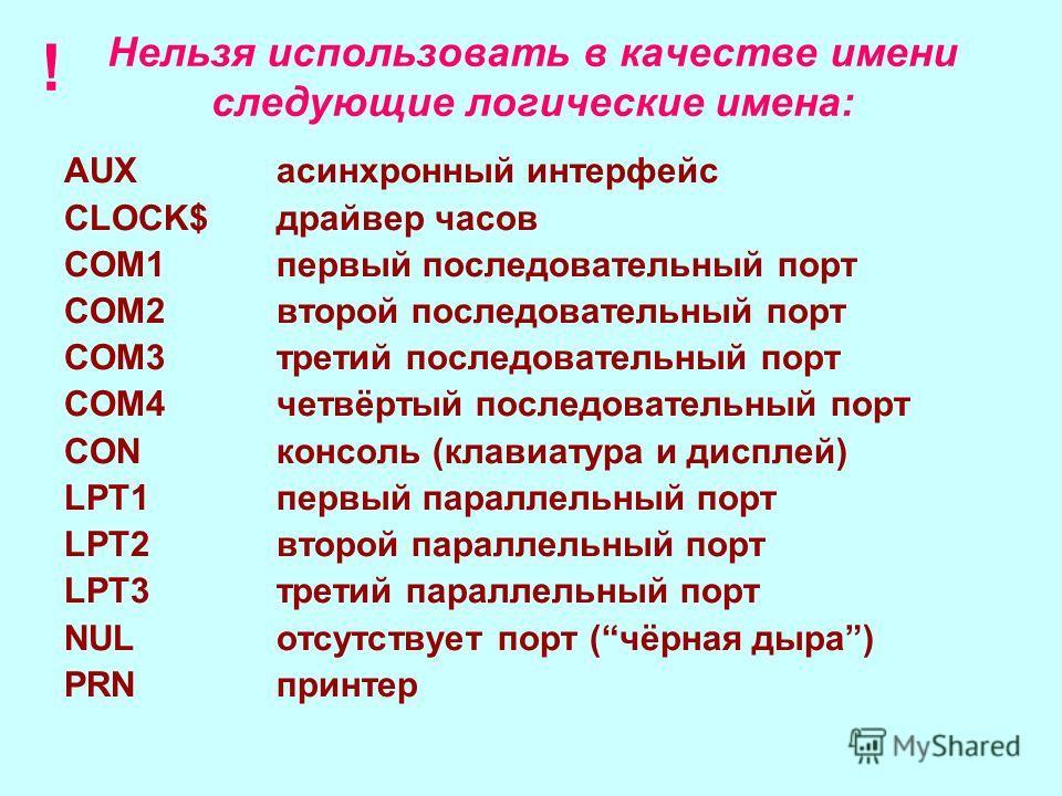 Имя файла состоит из двух частей: 1. собственного имени (до 256 символов: русские и/или латинские буквы, цифры, специальные знаки _ - $ & @ ! % ( ) % { } `~ ^) 2. расширения (от 1 до 3 латинских букв). Расширение отделяется от собственного имени точк