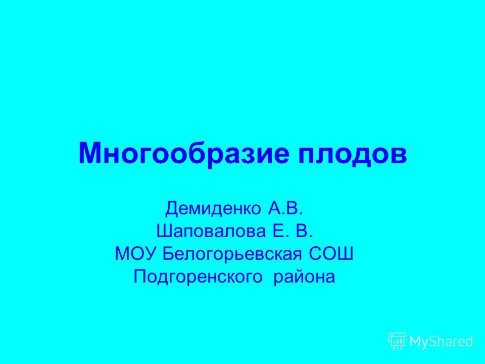 Многообразие плодов Демиденко А.В. Шаповалова Е. В. МОУ Белогорьевская СОШ Подгоренского района
