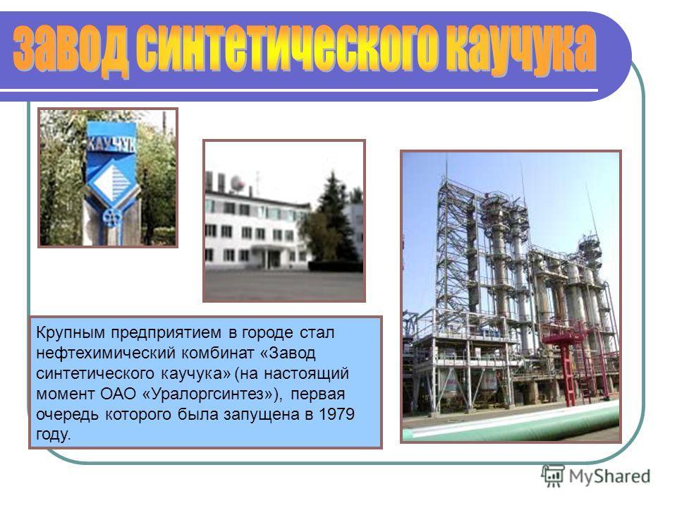 Крупным предприятием в городе стал нефтехимический комбинат «Завод синтетического каучука» (на настоящий момент ОАО «Уралоргсинтез»), первая очередь которого была запущена в 1979 году.