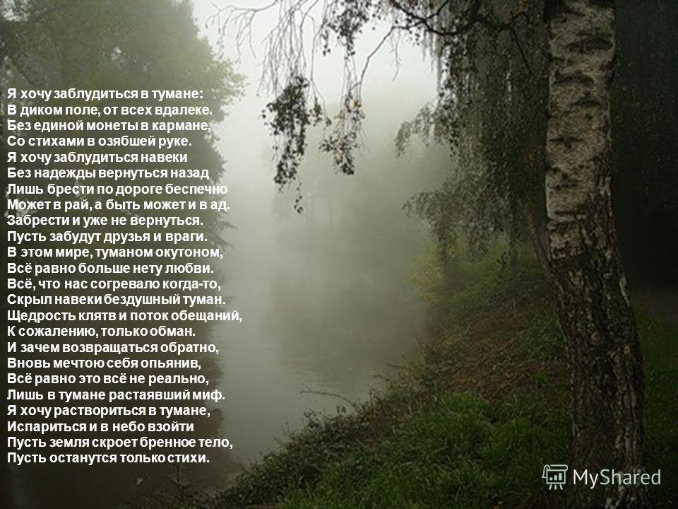 Я хочу заблудиться в тумане: В диком поле, от всех вдалеке. Без единой монеты в кармане, Со стихами в озябшей руке. Я хочу заблудиться навеки Без надежды вернуться назад Лишь брести по дороге беспечно Может в рай, а быть может и в ад. Забрести и уже