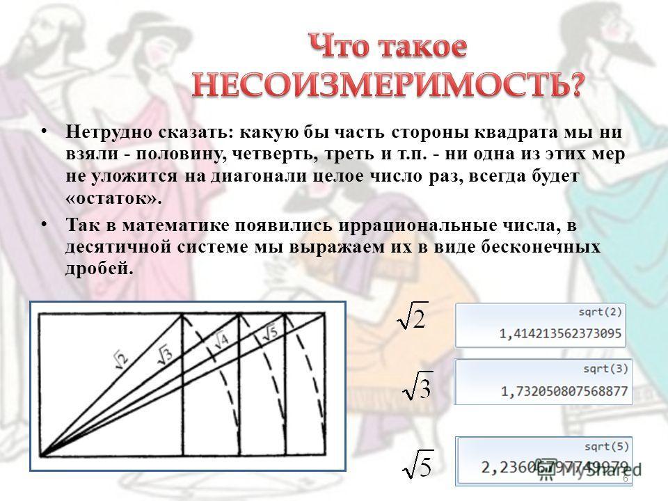Главным открытием Пифагора был прямоугольный равнобедренный треугольник, возникающий в квадрате, где проведена диагональ. 5