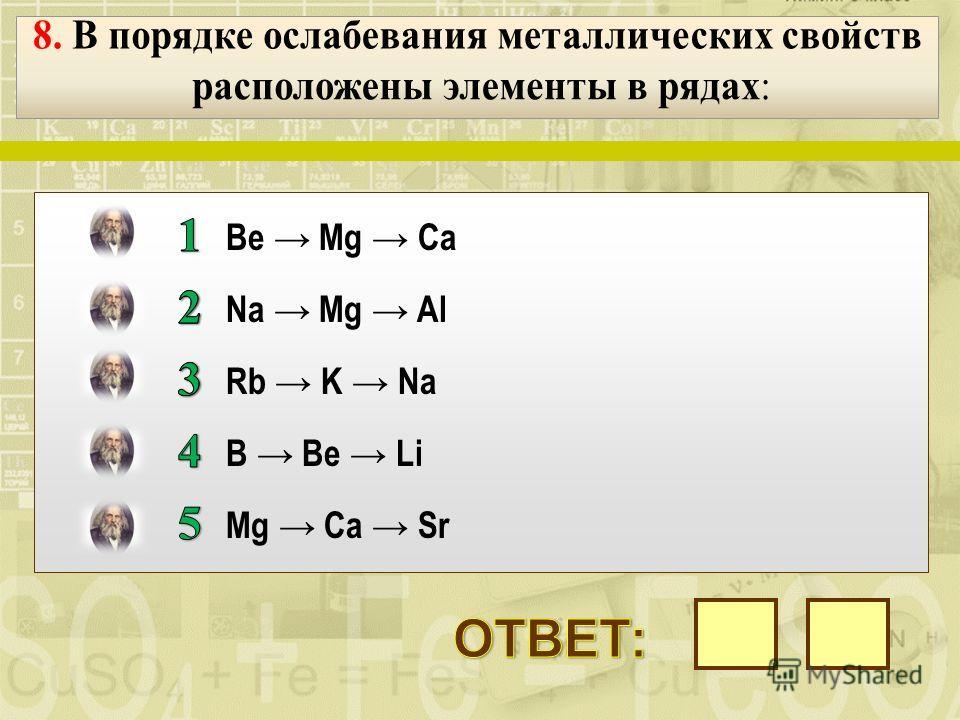уменьшается электроотрицательность уменьшаются радиусы атомов ослабевают неметаллические свойства увеличивается валентность в высших оксидах уменьшается число заполненных электронных слоев атомов