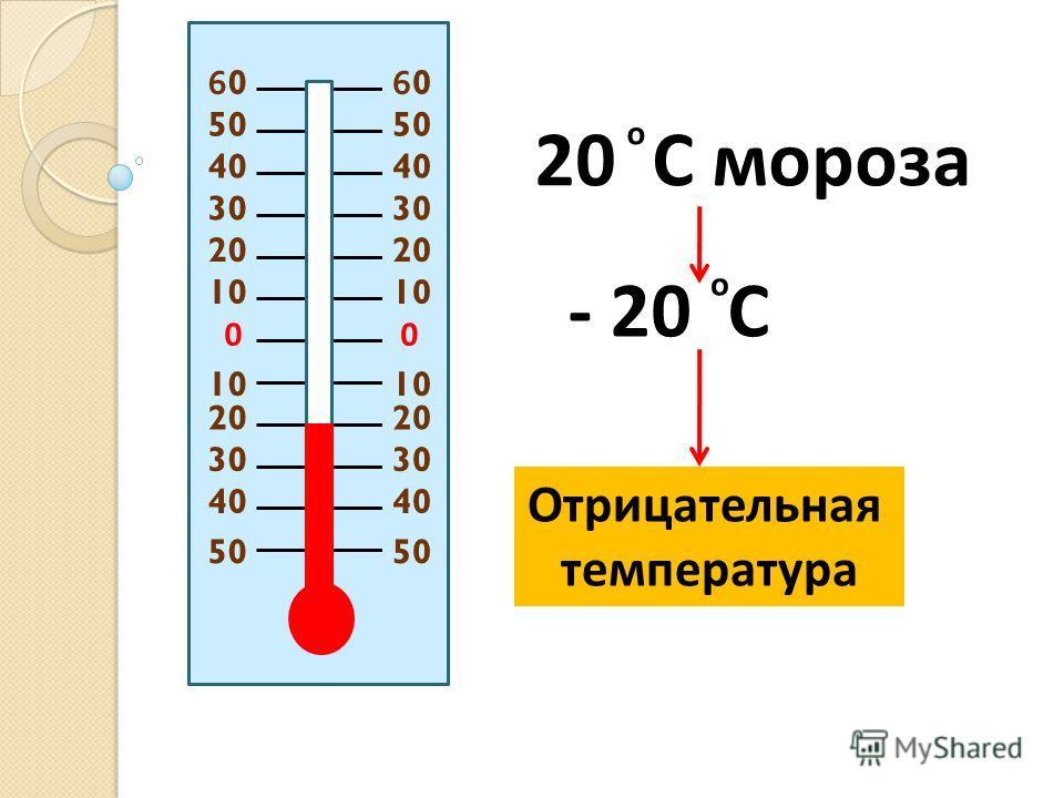 00 20 10 20 30 40 50 20 C мороза - 20 C о о Отрицательная температура 60606060 50
