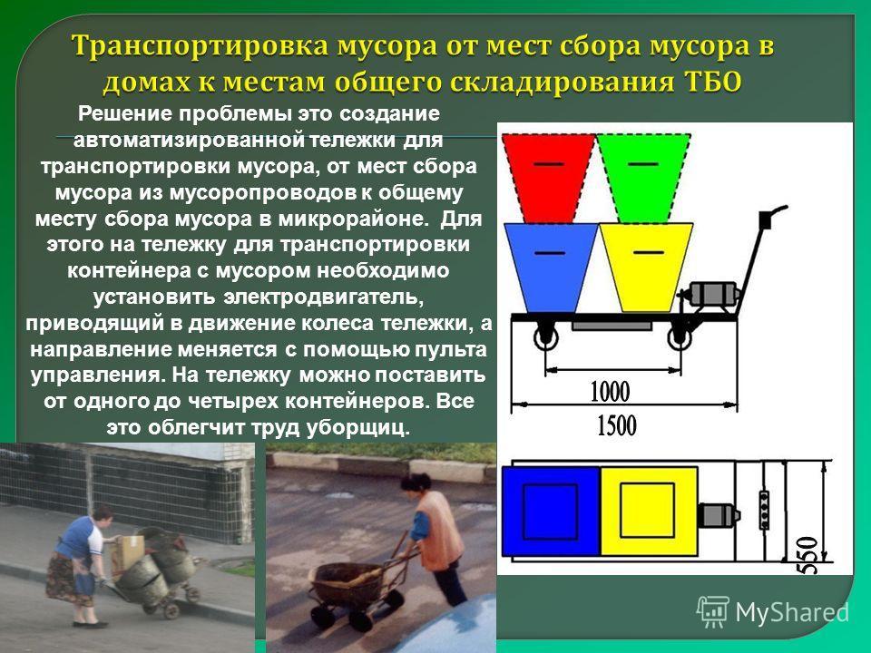 Решение проблемы это создание автоматизированной тележки для транспортировки мусора, от мест сбора мусора из мусоропроводов к общему месту сбора мусора в микрорайоне. Для этого на тележку для транспортировки контейнера с мусором необходимо установить