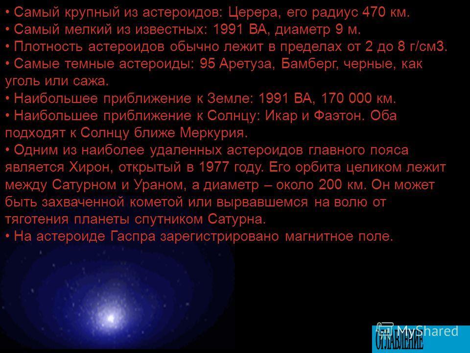 Гаспра имеет неправильную форму. На фотографии «Галилео» видны кратеры вплоть до 160 м в поперечнике. Принято считать астероидами все тела, размеры которых не менее 1 км. Тела меньших размеров получили название метеороидов. Общее число астероидов око