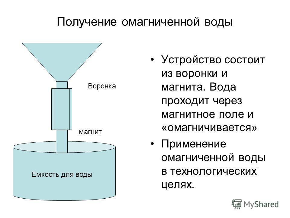 Получение омагниченной воды Устройство состоит из воронки и магнита. Вода проходит через магнитное поле и «омагничивается» Применение омагниченной воды в технологических целях. Воронка магнит Емкость для воды