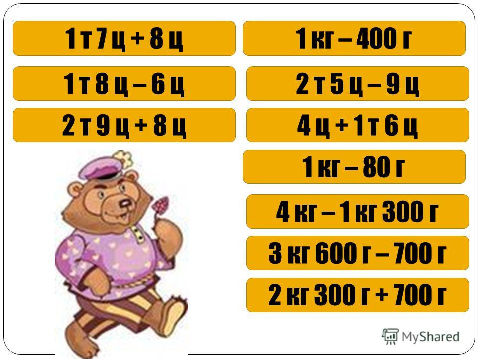 1 т 7 ц + 8 ц1 кг – 400 г 1 т 8 ц – 6 ц2 т 5 ц – 9 ц 2 т 9 ц + 8 ц4 ц + 1 т 6 ц 1 кг – 80 г 4 кг – 1 кг 300 г 3 кг 600 г – 700 г 2 кг 300 г + 700 г