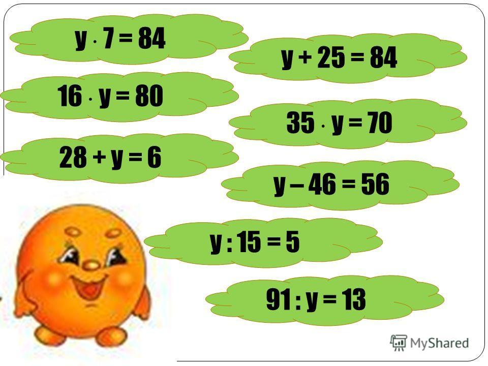 у 7 = 84 у + 25 = 84 16 у = 80 35 у = 70 28 + у = 6 у – 46 = 56 у : 15 = 5 91 : у = 13
