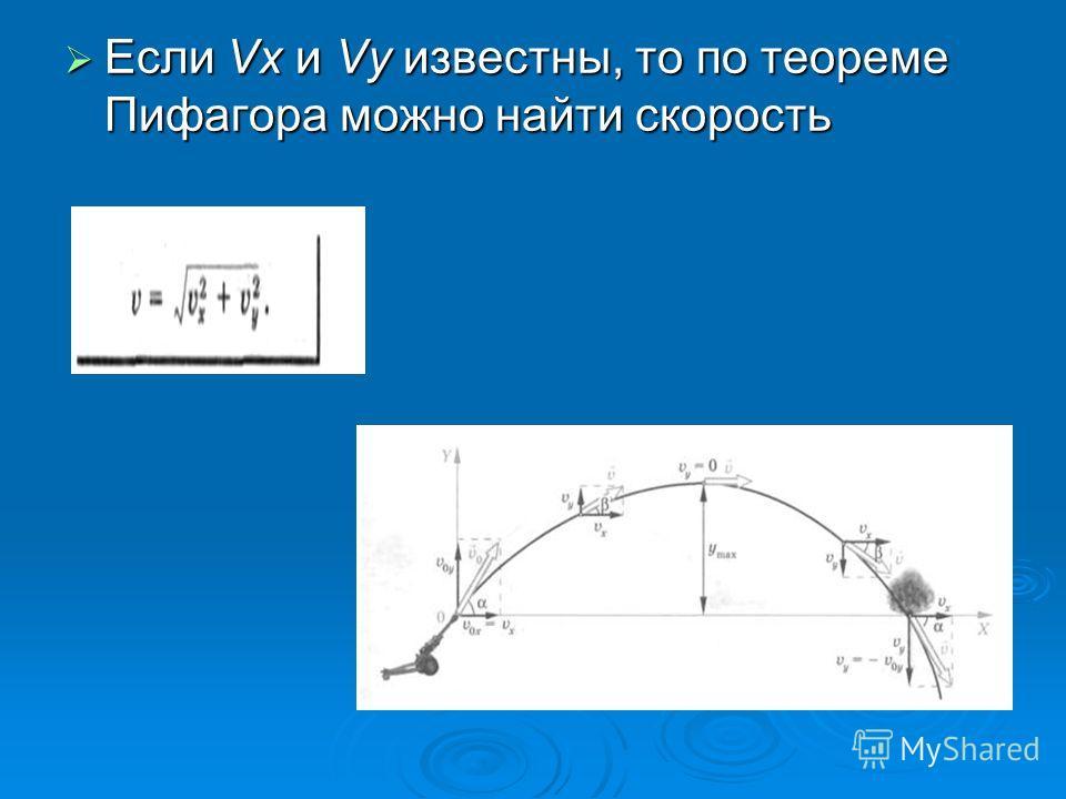 Если Vx и Vy известны, то по теореме Пифагора можно найти скорость Если Vx и Vy известны, то по теореме Пифагора можно найти скорость