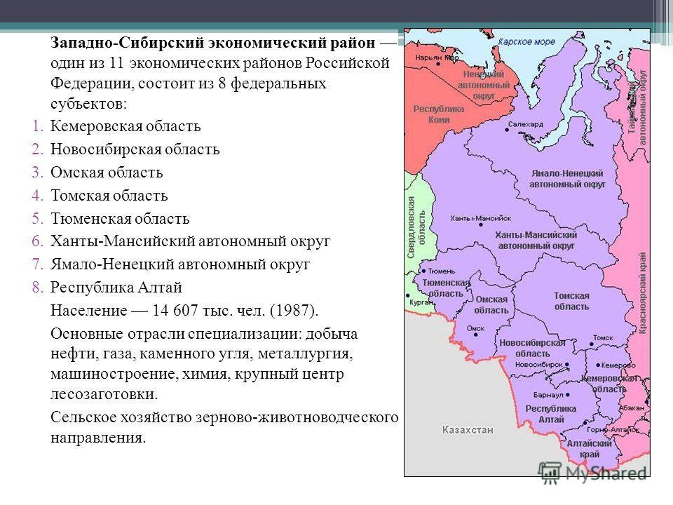 Западно-Сибирский экономический район один из 11 экономических районов Российской Федерации, состоит из 8 федеральных субъектов: 1.Кемеровская область 2.Новосибирская область 3.Омская область 4.Томская область 5.Тюменская область 6.Ханты-Мансийский а