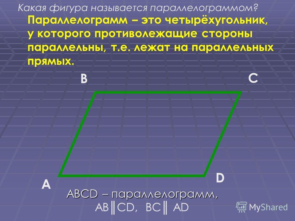 Параллелограмм – это четырёхугольник, у которого противолежащие стороны параллельны, т.е. лежат на параллельных прямых. A B C D ABCD – параллелограмм, ABCD – параллелограмм, ABCD, BC AD Какая фигура называется параллелограммом?