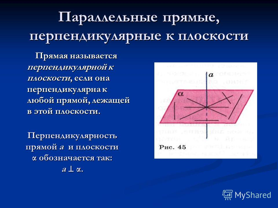 Параллельные прямые, перпендикулярные к плоскости Прямая называется перпендикулярной к плоскости, если она перпендикулярна к любой прямой, лежащей в этой плоскости. Прямая называется перпендикулярной к плоскости, если она перпендикулярна к любой прям