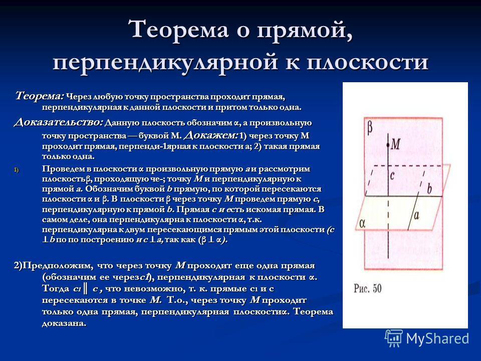 Теорема о прямой, перпендикулярной к плоскости Теорема: Через любую точку пространства проходит прямая, перпендикулярная к данной плоскости и притом только одна. Доказательство: Данную плоскость обозначим α, а произвольную точку пространства буквой М