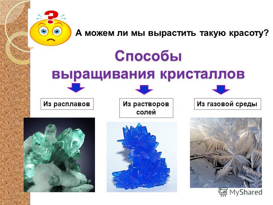 Способы выращивания кристаллов А можем ли мы вырастить такую красоту? Из растворов солей Из расплавовИз газовой среды