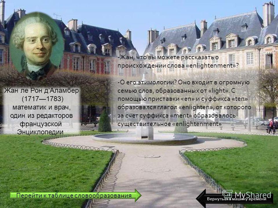 Жан ле Рон дАламбер (17171783) математик и врач, один из редакторов французской Энциклопедии -Жан, что вы можете рассказать о происхождении слова «enlightenment»? -О его этимологии? Оно входит в огромную семью слов, образованных от «light». С помощью