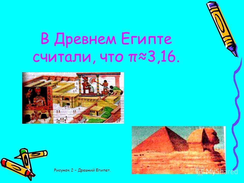 В Древнем Египте считали, что π3,16. Рисунок 2 – Древний Египет.