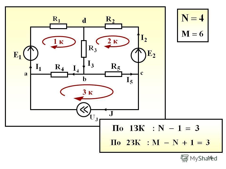 15 1. Метод законов Кирхгофа Решение системы уравнений, составленных по законам Кирхгофа, позволяет определить все токи и напряжения в рассматриваемой цепи