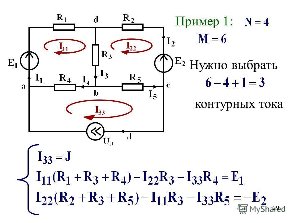 28 Порядок расчета Обозначаются токи ветвей Выбираются контурные токи Составляется система уравнений по алгоритму Находятся контурные токи Через контурные токи находятся реальные токи схемы