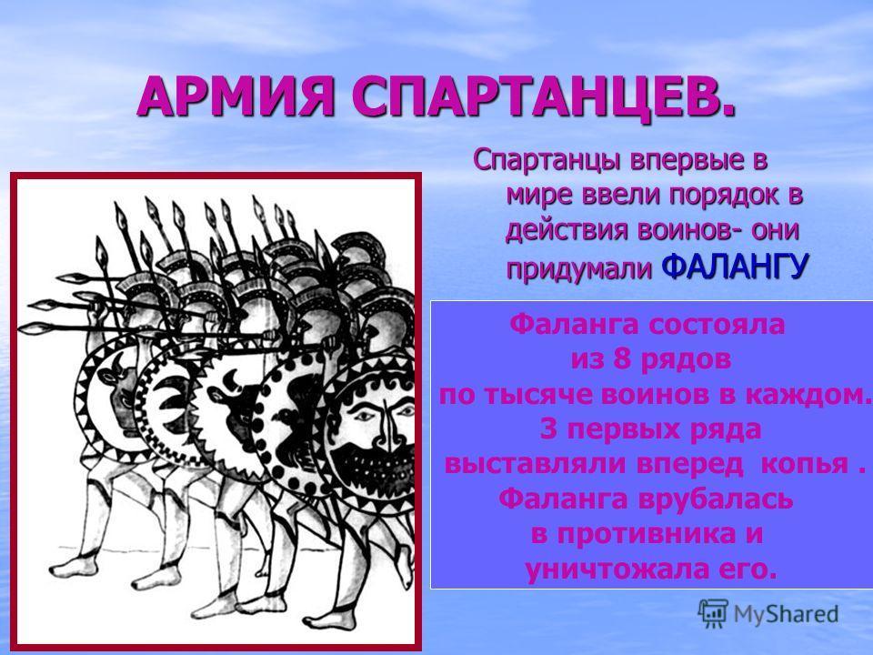 АРМИЯ СПАРТАНЦЕВ. Спартанцы впервые в мире ввели порядок в действия воинов- они придумали ФАЛАНГУ Фаланга состояла из 8 рядов по тысяче воинов в каждом. 3 первых ряда выставляли вперед копья. Фаланга врубалась в противника и уничтожала его.