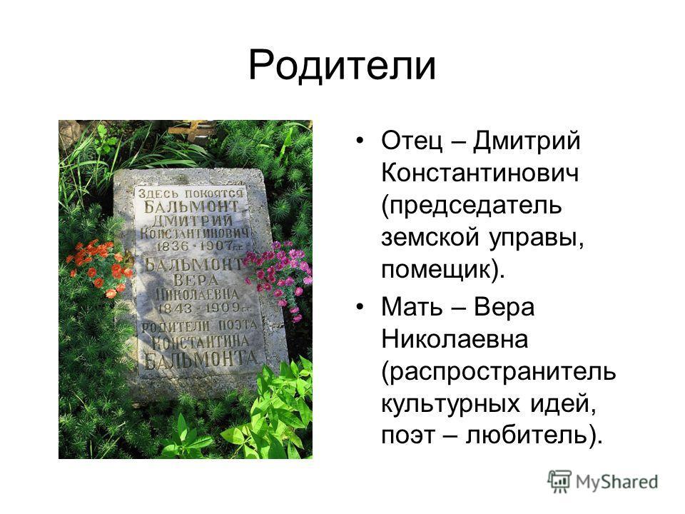 Родители Отец – Дмитрий Константинович (председатель земской управы, помещик). Мать – Вера Николаевна (распространитель культурных идей, поэт – любитель).