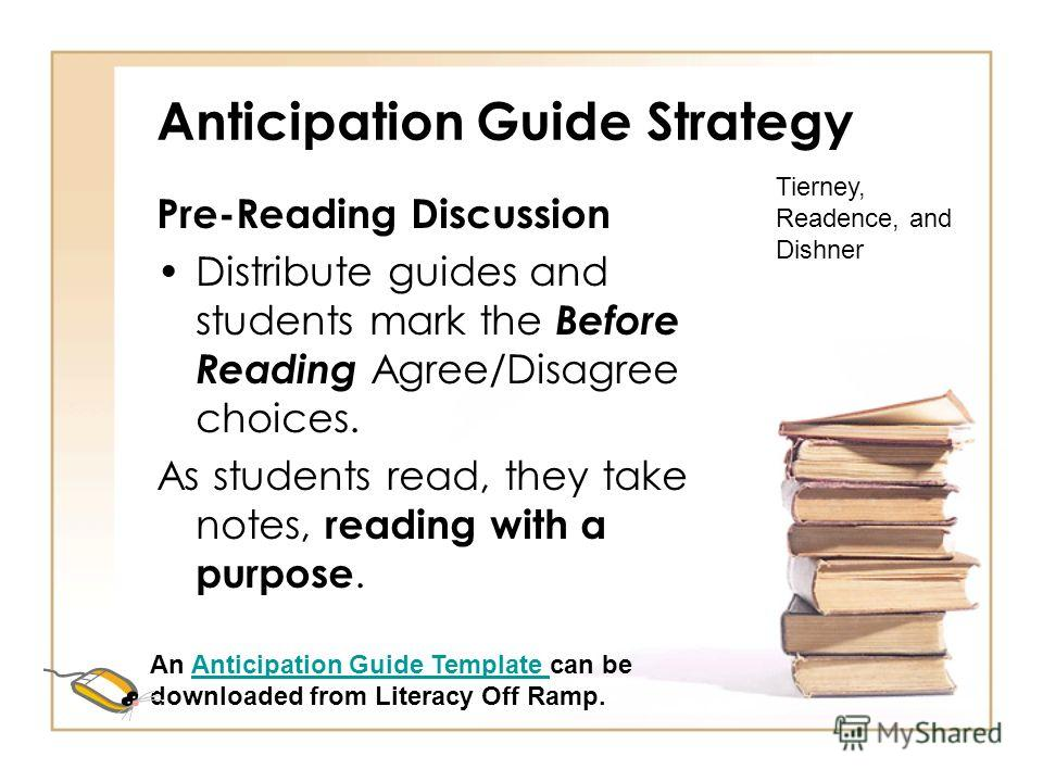 Anticipation Guide Strategy Before, During, and After reading strategy Preparation – The teacher develops 3-5 statements that are related to the topic. Create an anticipation guide to copy and give to students Tierney, Readence, and Dishner An Antici