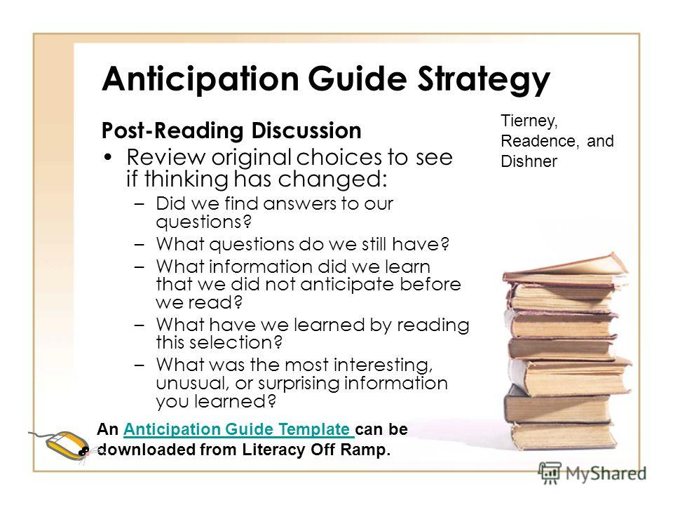 Anticipation Guide Strategy Pre-Reading Discussion Distribute guides and students mark the Before Reading Agree/Disagree choices. As students read, they take notes, reading with a purpose. Tierney, Readence, and Dishner An Anticipation Guide Template