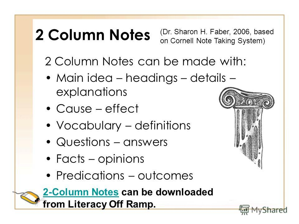 Column Notes Change column headings to fit objectives/material Best for cause/effect or compare/contrast skills 2-Columns – students fold paper down middle for note taking. (Dr. Sharon H. Faber, 2006, based on Cornell Note Taking System)