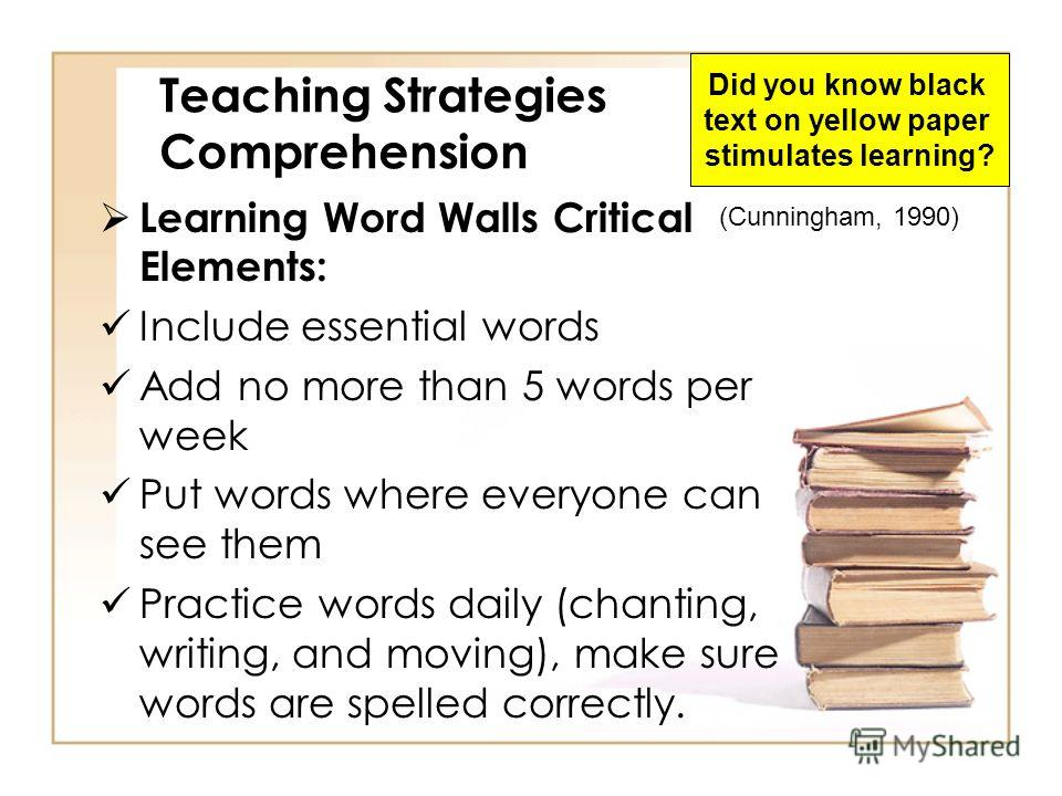 Teaching Strategies Comprehension Learning Walls Location: Where the kids can see it Content: Pictures, phrases, 4x6 index cards, color code words that share same concept